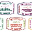 Passport stamps of major US airports  — Stock Vector