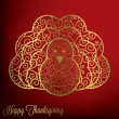 Stock Vector: Filigree turkey Thanksgiving card