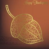 Filigree acorn Thanksgiving card — Vettoriale Stock