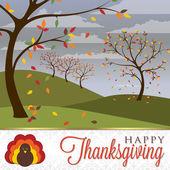 Gebied van bomen thanksgiving-kaart — Stockvector