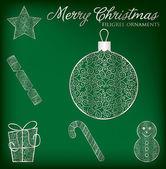 Christmas filigree ornament set — Stock Vector