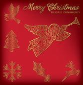 Christmas filigree ornament set — Stockvektor