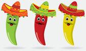 Meksikalı jalapenos sombreros içinde — Stok Vektör