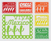 Mexican 'papel picado' set — Stock Vector