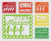 Mexican 'papel picado' set — Stock Vector