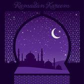 "Venster ""ramadan kareem"" kaart — Stockvector"