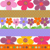 Strip pattern - vector floral background — Stock Vector