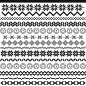 Ethnic pattern motifs - black and white — Vecteur