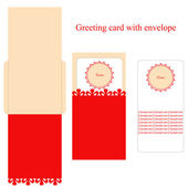 Greeting card with envelope and copy space — Stock Vector
