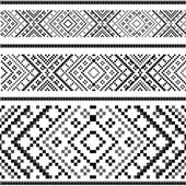 Variants of the ethnic ornament - black&white — Stock Vector