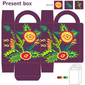 Box with flowers — Stock Vector