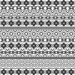 Ethnic motifs - pattern in black and white — Stock Vector