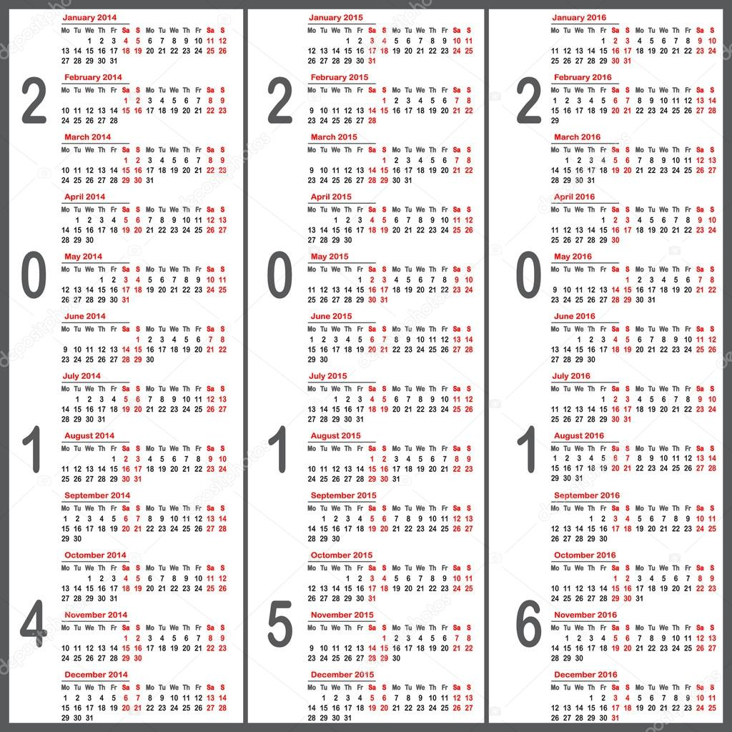 Вектор календарь Европейского 2016 год.  Стоковая иллюстрация.
