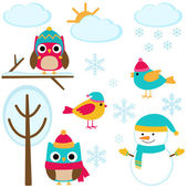 Set of winter elements — Stock Vector