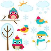 Set of winter elements — Stock Vector