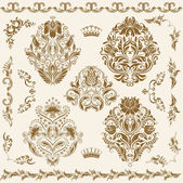 Set of vector damask ornaments. — Vecteur