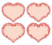 Set of ornate heart frames . — Stock Vector