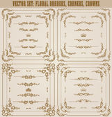 Vector set of gold decorative borders, frame — Stockvector