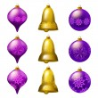 Vector illustration of collection of colorful Christmas bauble — Imagens vectoriais em stock