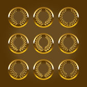 Luxury gold labels with laurel wreath — 图库矢量图片