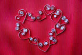 Hearts of paper quilling for Valentine's day — Stockfoto