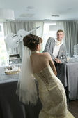 Bride and groom in interior — Foto Stock