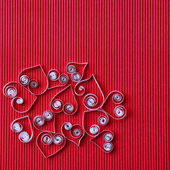 Hearts of paper quilling for Valentine's day — Stock Photo