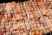 Marinated meat kebab on grill — Stock Photo