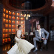 Bride and groom in interior — Stock Photo #40521425