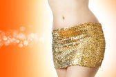 Disco woman in  golden skirt — Stock Photo