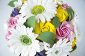 Colorful bouquet of flowers on a white background — Stock Photo
