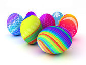 Easter colorful eggs isolated on white background — 图库照片