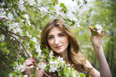 Young beautiful girl in spring blooming gardens — Stock Photo