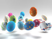 Easter colorful eggs on white background — Stock Photo