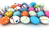 Easter colorful eggs isolated on white background — Stock Photo