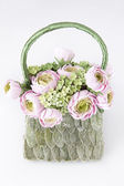 Handbag with handmade flowers — Stock Photo