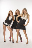 Three slender girls on white background — Stock Photo