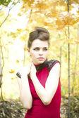 Sonbahar güzellik kadın portresi — Stok fotoğraf