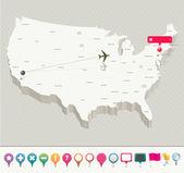 Mapa 3d de estados unidos con pernos — Vector de stock