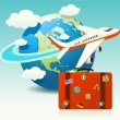 airplane travel with luggage — Stock Vector