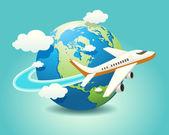 Viajes de avión — Vector de stock