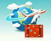 Voyage en avion avec bagages — Vecteur