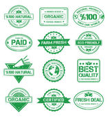 Natural Stamp Style Badges — Stock Vector