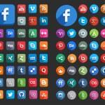 płaski ikony mediów społecznych — Wektor stockowy