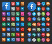 Düz sosyal medya simgeler — Stok Vektör