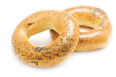 Two bagels with poppy seeds, isolated — Stock Photo
