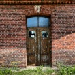 Grunge brick wall & barred door — Stock Photo #16041449