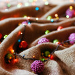 Christmas decorations with linen cloth — Stock Photo