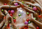 Christmas decorations with linen cloth — Photo
