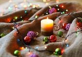 Juldekorationer med linneduk — Stockfoto